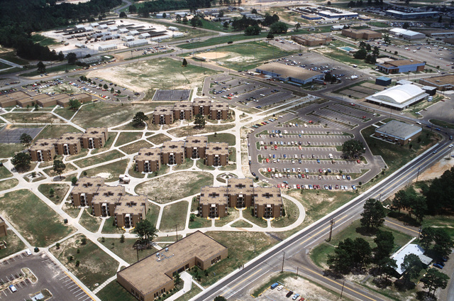 An aerial view of the 3/11th and the 3/10th Headquarters and living area (new brick buildings)