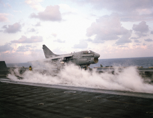 A right front view of an A-7 Corsair II aircraft as it is catapulted from the nuclear-powered aircraft carrier USS DWIGHT D. EISENHOWER (CVN 69) during Exercise BRIGHT STAR '83