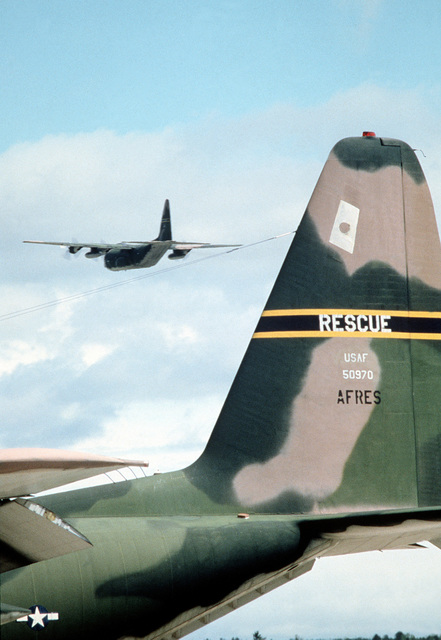 Two Air Force Reserve HC-130 Hercules aircraft participate in Condor CRTE '82, a combat rescue exercise aimed at giving reservists battlefield experience