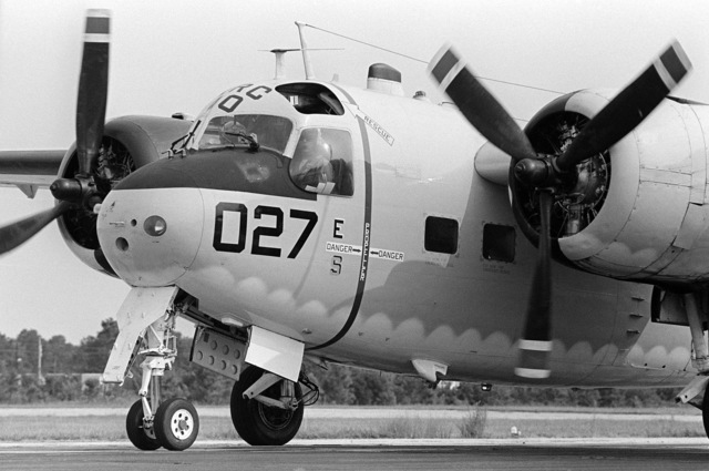 A left front view of a C-1A Trader aircraft from Fleet Logistics Support Squadron 40 (VRC-40) just after landing