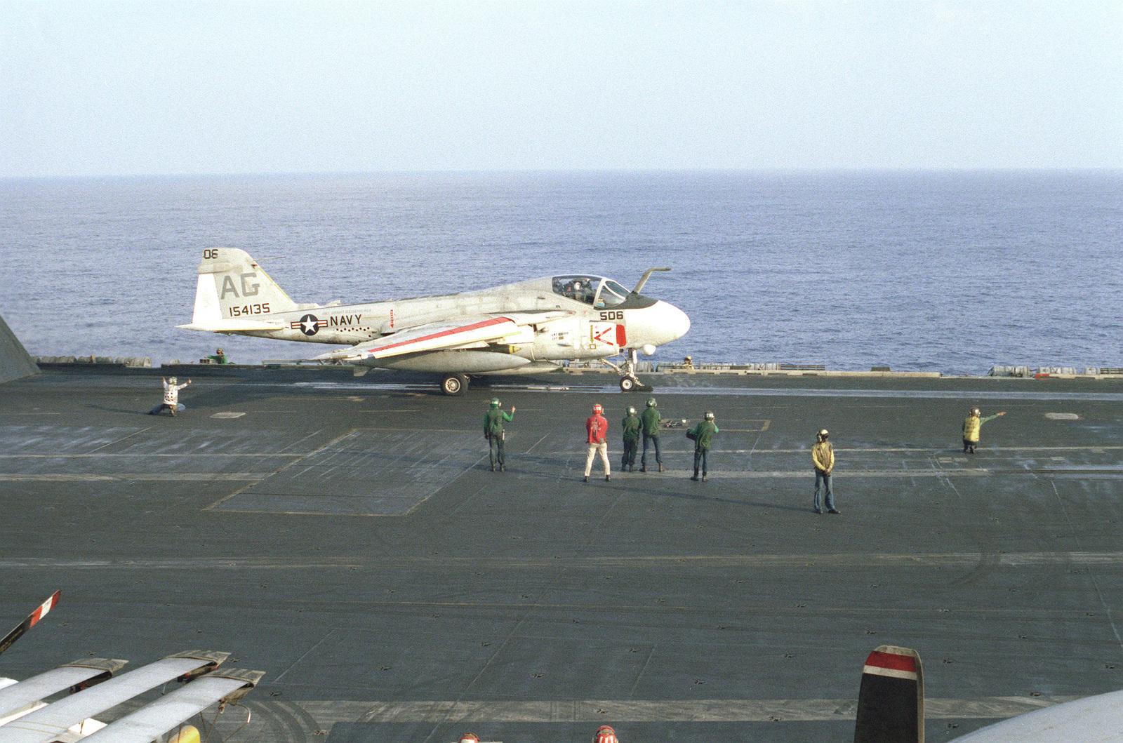 An A-6E Intruder aircraft prepares for launching from the nuclear-powered aircraft carrier USS DWIGHT D. EISENHOWER (CVN-69)