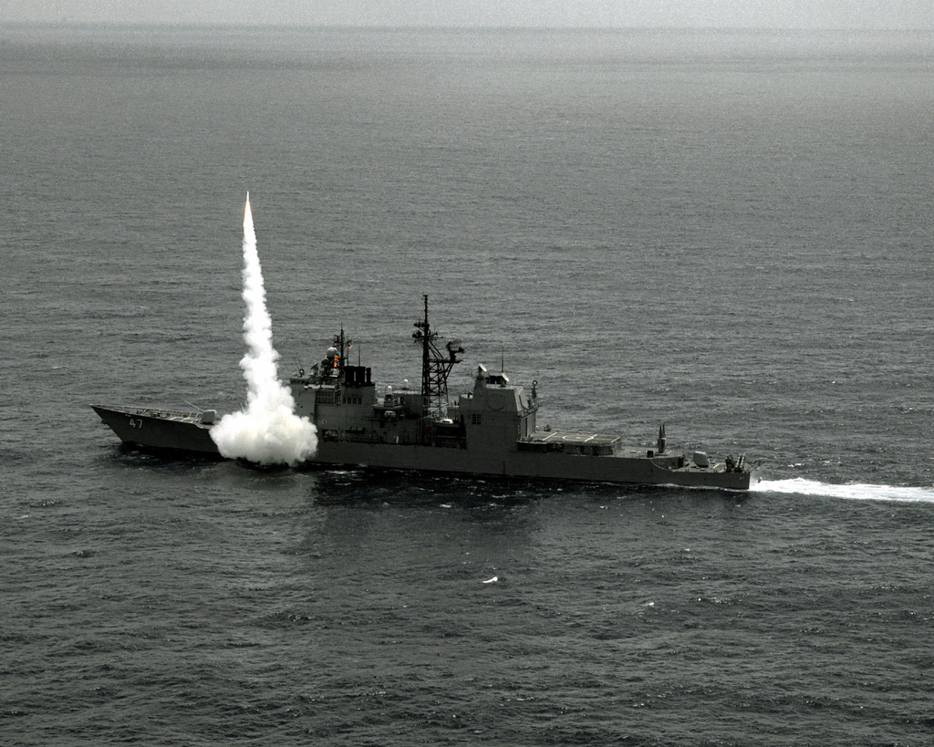 An RIM-66C Standard missile is fired from the forward Mark 26 Mod 1 launcher aboard the guided missile cruiser USS TICONDEROGA (CG-47). The missile is being fired at a target drone on the Atlantic Fleet Weapons Training Facility, Puerto Rico
