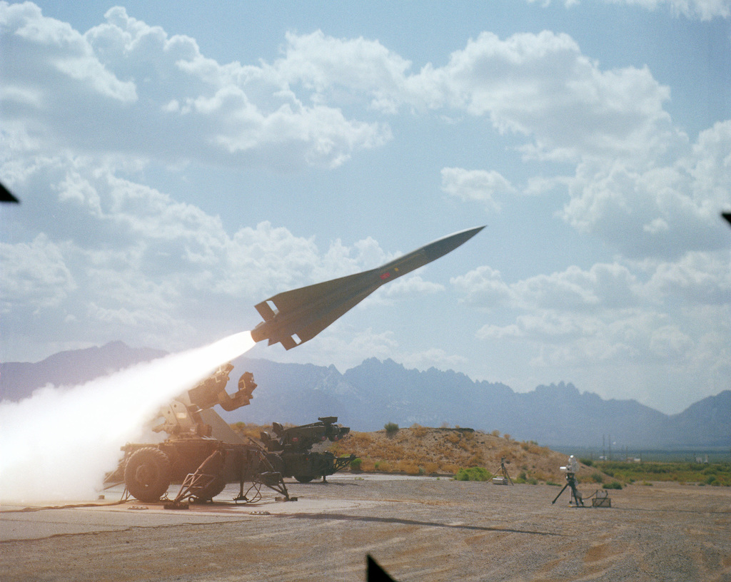 A Hawk missile is fired from Launch Complex 32
