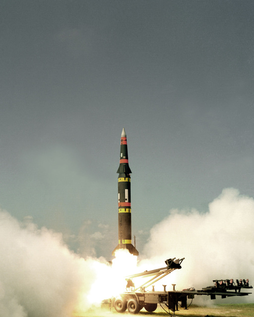 A Pershing-II battlefield support missile is launched by the US Army for a long range flight down Eastern Test Range