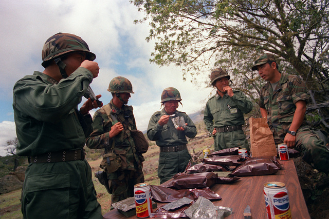 Japanese Self Defense Force officers dine on U.S. Army rations during their observance of training techniques by members of the 2nd Bde., 25th Infantry Division