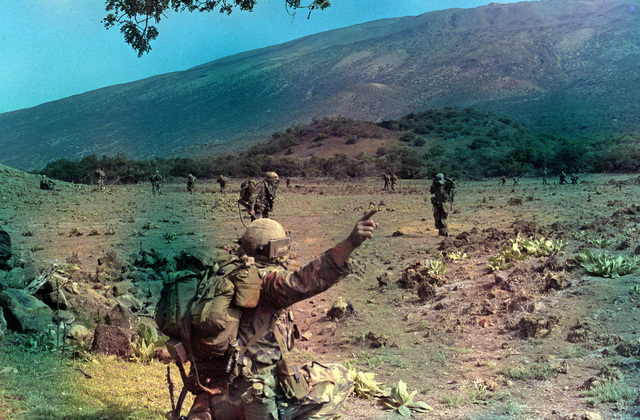 Members of the 1ST Battalion, 35th Infantry, 2nd Brigade, 25th Inanftry Division, fan out from the landing zone during an airmobile combat assault at the US Army's Pohakuloa Training Area, during training Exercise OPPORTUNE JOURNEY 4-83. The troops are wearing MILES (Mutiple Intergrated Laser Engagement System) gear. (SUBSTANDARD)
