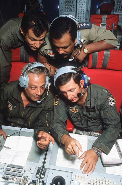 Captain Rich Pawly explains what AWACS (airborne warning and control system) is used for as he conducts a tour of an E-3A Sentry aircraft during the joint Exercise BRIGHT STAR '83. The exercise involves troops from the US, Egypt, Sudan and Somalia. (DUPLICATE IMAGE DFST8503828)