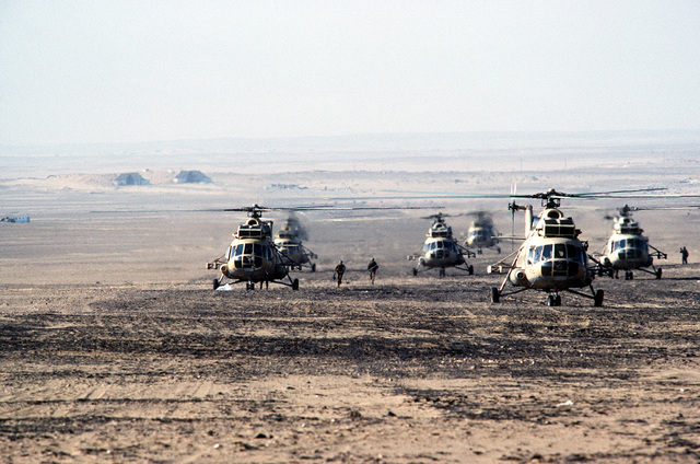 Egyptian (Soviet designed) Mil Mi-8 (Hip-F) helicopters are prepared for an air assault during the joint exercise Bright Star '83