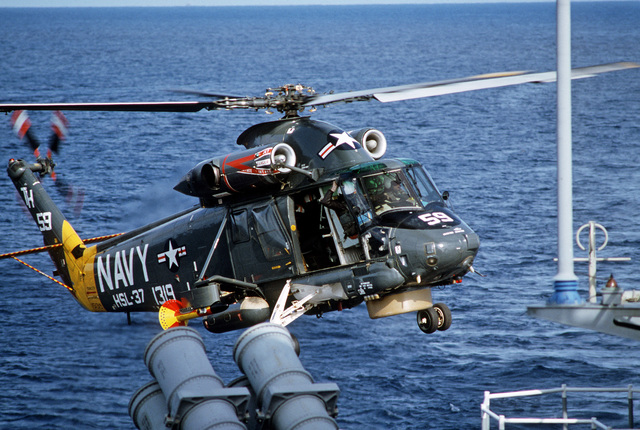 A Light Helicopter Anti-submarine Squadron 37 (HSL-37) SH-2F Helicopter lifts off on patrol during salvage operations for downed Korean Air Lines Flight 007 (KAL-007).  The commercial jet was shot down by Soviet aircraft over Sakhalin Island on August 30, 1983 in the Sea of Japan.  All 269 passengers and crewmen were killed