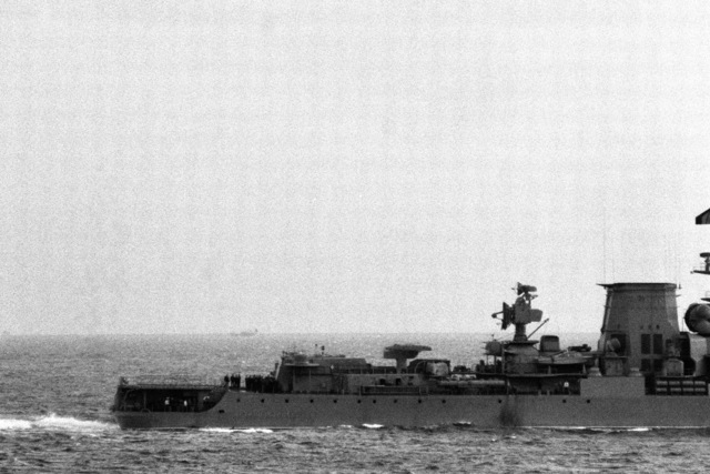 A view of the stern of a Soviet Kara class guided missile cruiser which is shadowing salvage operations for downed Korean Air Lines Flight 007 (KAL 007).  The commercial jet was shot down by Soviet aircraft over Sakhalin Island in the Sea of Japan on August 30, 1983.  All 269 passengers and crewmen were killed