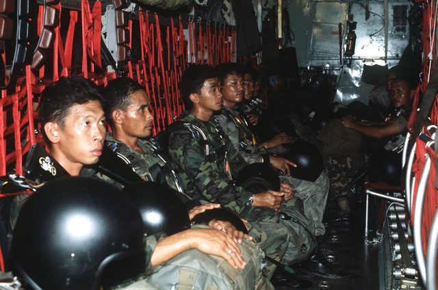 Royal Thai Army Special Forces paratroopers aboard a C-130 Hercules aircraft