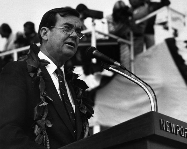 William P. Clark, assistant secretary to the President for National Security Affairs, delivers the principal address at the launching ceremony for the Los Angeles class nuclear-powered attack submarine HONOLULU (SSN 718)