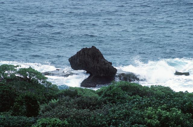 The rocky coastline of Orote Point