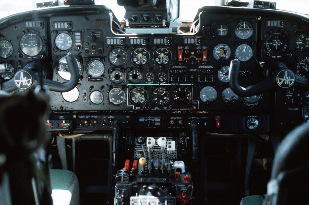 A view of the instrument panel of a Soviet-made An-26 Curl transport aircraft of Cubana airlines. The aircraft was seized at Pearls Airport during Operation URGENT FURY