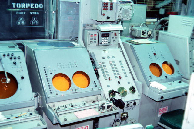 A view of the Tartar guided missile systems control console in the combat information center aboard the guided missile destroyer USS RICHARD E. BYRD (DDG 23)