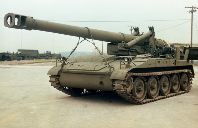 A left front view of an M-110A2 self-propelled howitzer at Letterkenny Army Depot