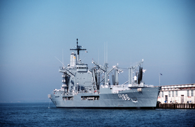 A starboard bow view of the fleet oiler USNS PLATTE (T-AO 186) moored at the Naval Station Pier