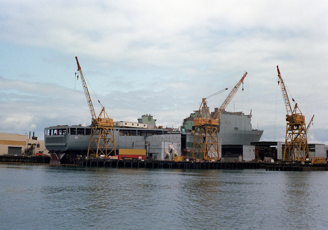 A starboard quarter view of the dock landing ship WHIDBEY ISLAND (LSD-41) under construction at the Lockheed Shipbuilding and Construction Company