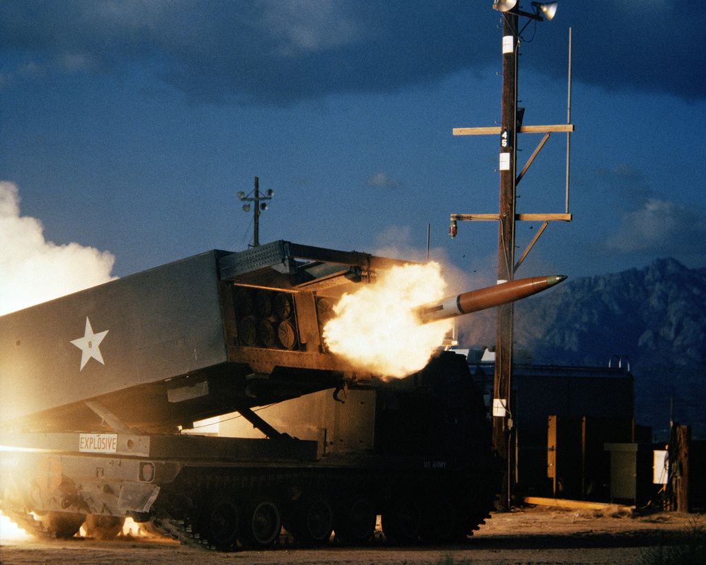 A missile is fired from a 227 mm multiple launch rocket system (MLRS) at Launch Complex 33