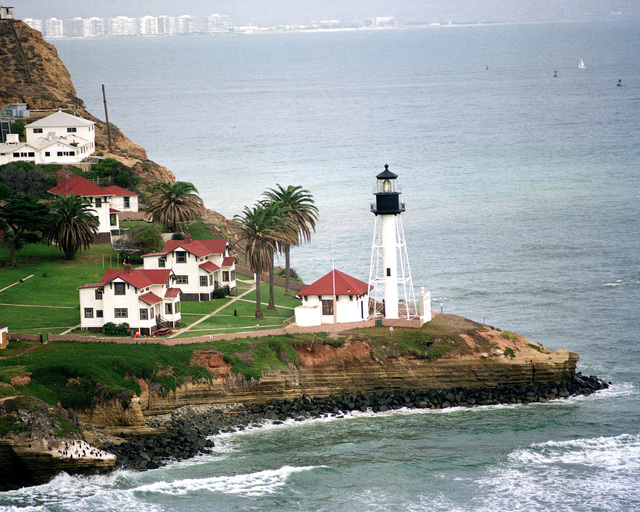 An aerial view of the Point Loma Lighthouse near San Diego