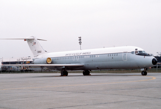 A C-9A Nightingale aircraft on the flight line. The C-9A is assigned to the 55th Aeromedical Airlift Squadron (AAS)
