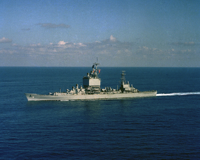 Aerial port beam view of the nuclear-powered guided missile cruiser USS LONG BEACH (CGN 9) underway