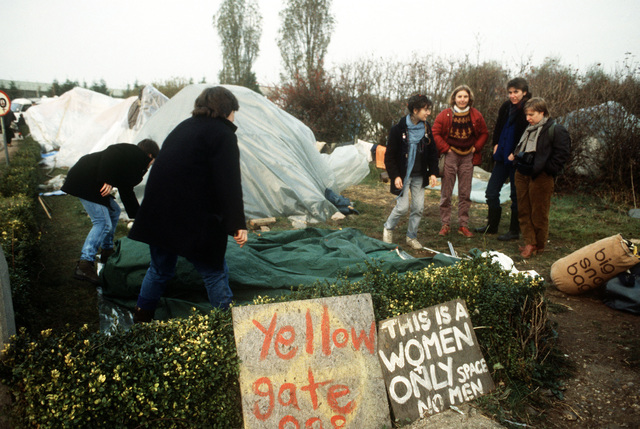 Anti-nuclear demonstrators camped outside the air base during the arrival of the Ground Launch Cruise Missile equipment