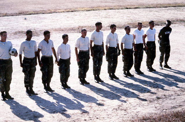 US Marines form a soccer team to play Republic of Korea servicemen during Operation BEAR HUNT '84