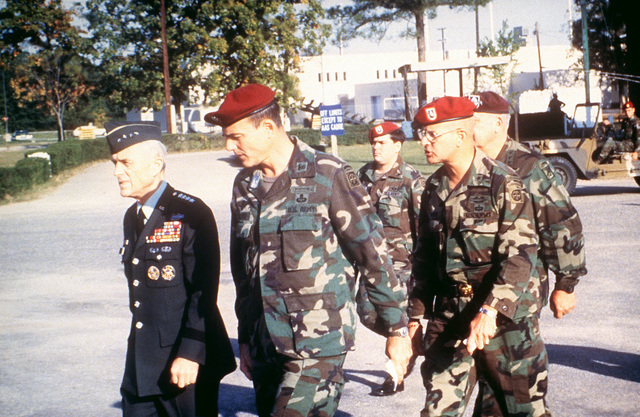 General John A. Wickham, US Army CHIEF of STAFF, talks with 82nd Airborne Division officers prior to their deployment to Grenada for Operation URGENT FURY