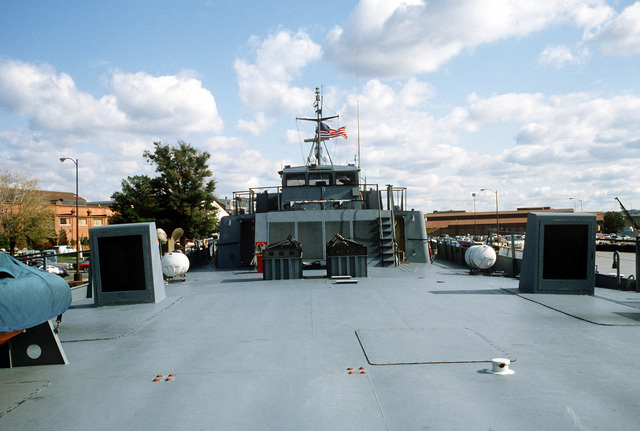 A view looking forward aboard the surface effect ship 200 (SES-200) moored at the Navy Yard. Naval Sea Systems Command procured a 110-foot commercial SES and increased its length-to-beam ratio by installing a 50-foot hull extension amidships. This was necessary to validate high length-to-beam research
