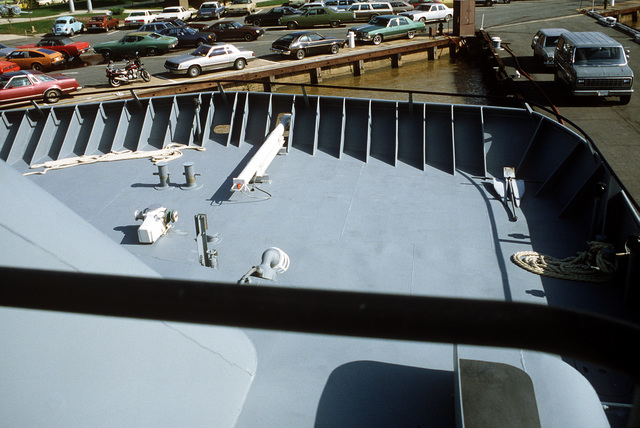A view looking forward from the bridge on the surface effect ship 200 (SES-200) moored at the Navy Yard. Naval Sea Systems Command procured a 110-foot commercial SES and increased its length by installing a 50-foot hull extension amidships. This was necessary to validate high length-to-beam research