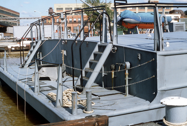 A view of the transom area on the surface effect ship 200 (SES-200) moored at the Navy Yard. Naval Sea Systems Command procured a 110-foot commercial SES and increased its length by installing a 50-foot hull extension amidships. This was necessary to validate high length-to-beam research