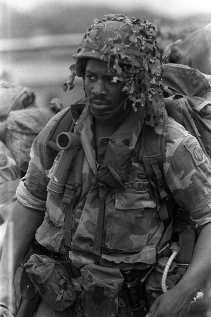 A well equipped US infantryman participating in Operation URGENT FURY