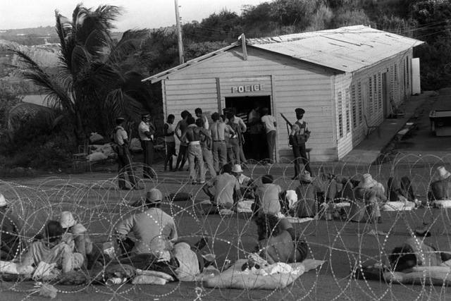 Members of the People's Revolutionary Army and their Cuban advisors, after their capture by members of the US military and the Eastern Caribbean Defense Force during Operation URGENT FURY