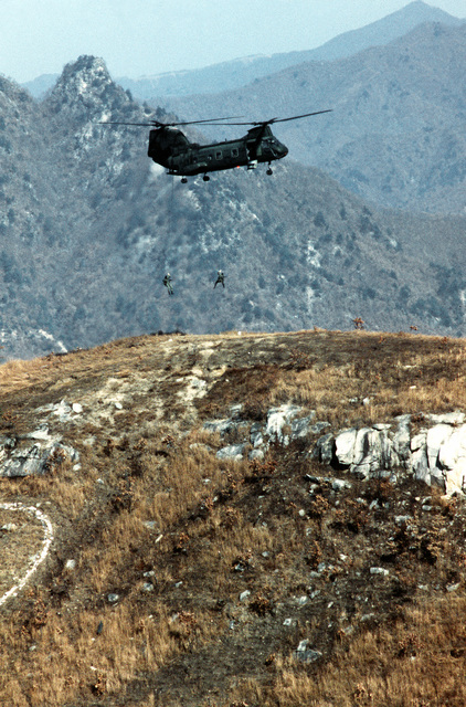 Two members of a Marine recon team rappel from a hovering CH-46 Sea Knight helicopter during live-fire maneuvers at Nightmare Range. They are participating in operation Bear Hunt '84