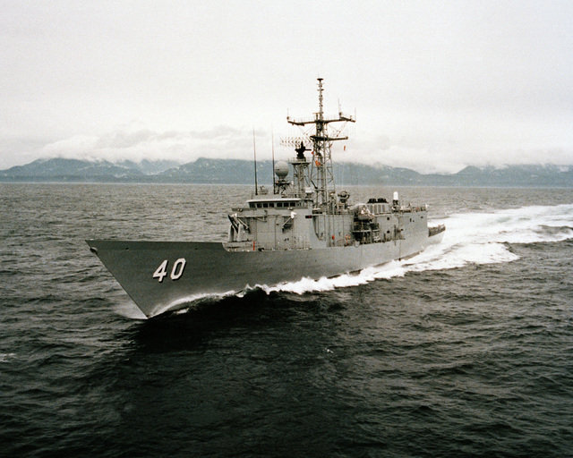 A port bow view of the guided missile frigate HALYBURTON (FFG 40) during acceptance trials