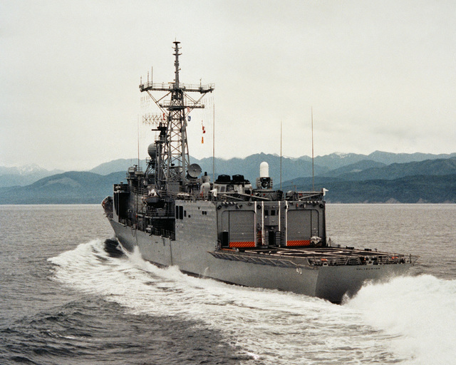 A port quarter view of the guided missile frigate HALYBURTON (FFG 40) during acceptance trials