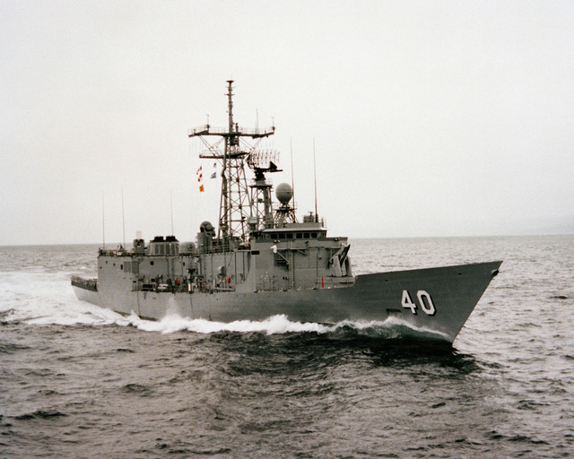 A starboard bow view of the guided missile frigate HALYBURTON (FFG 40) during acceptance trials