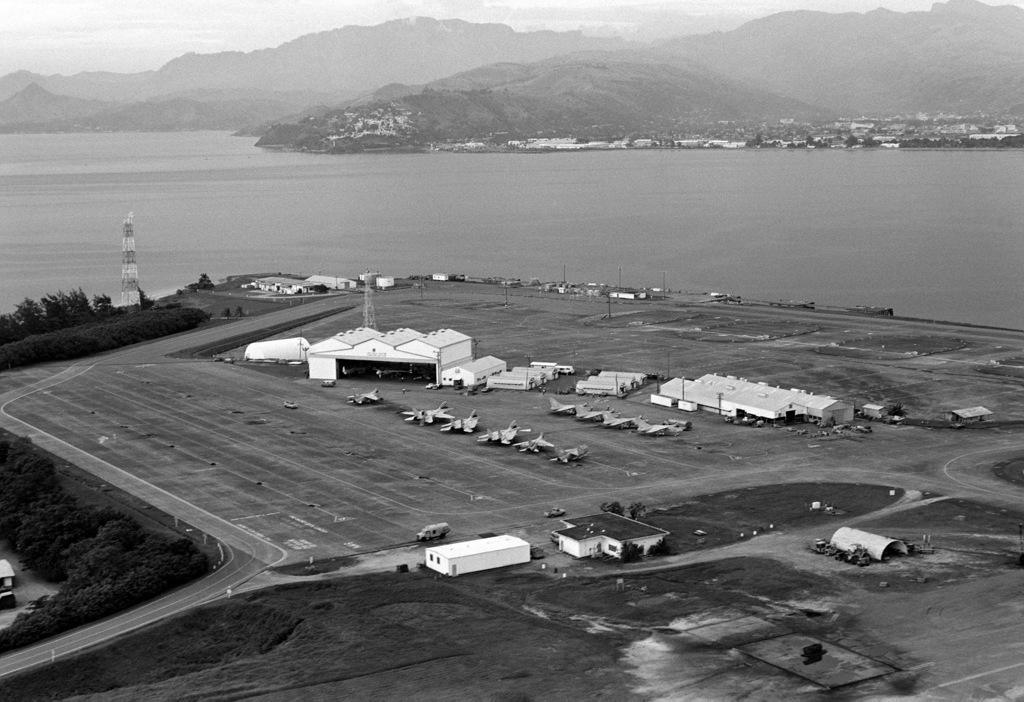 Aerial view of a hangar at Arthur W. Radford Field