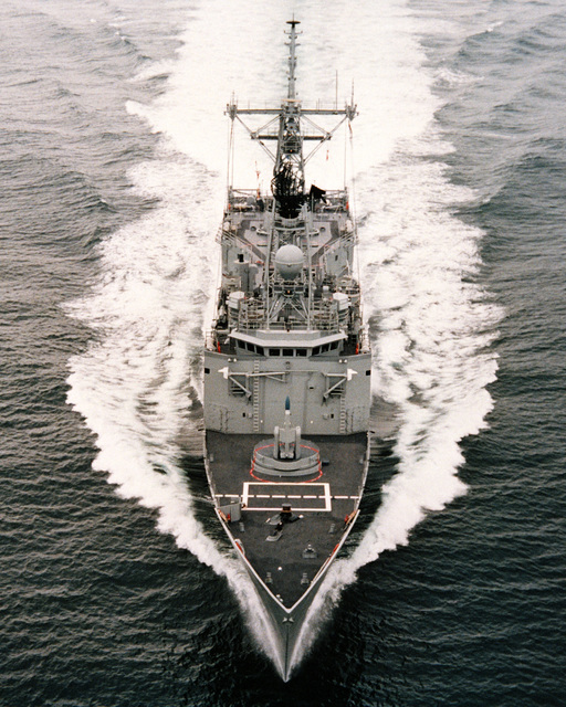 An aerial bow view of the guided missile frigate HALYBURTON (FFG 40) during acceptance trials