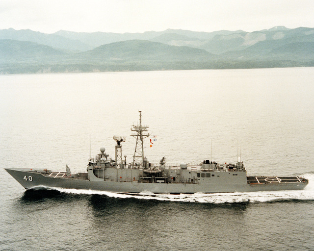 An aerial port beam view of the guided missile frigate HALYBURTON (FFG 40) during acceptance trials