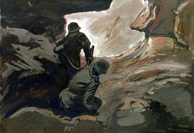 "Artwork: ""Flame Thrower, Fort Driant,"" Metz, France, 1944. Artist: Ernest Widmann. Catalog Number: G.W.1.8436.47. US Army Art Collection"