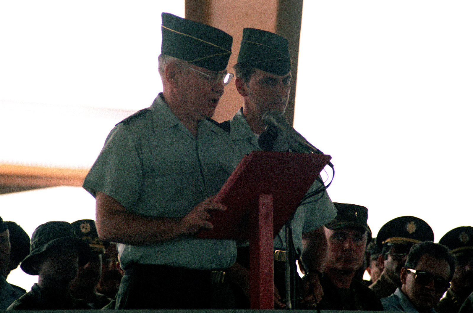General Paul Gorman of the Southern Command speaks at the graduation ceremony for the 2nd Honduran Artillery Battalion, after their completion of a combat training course conducted by the 319th Field Artillery during the Ahuas Tara II (Big Pine) operation. (Substandard image)