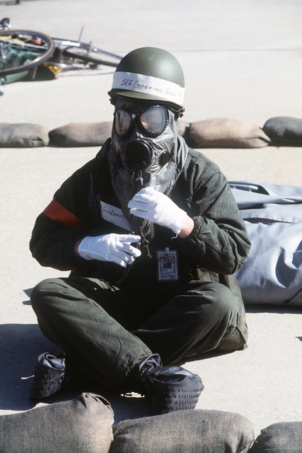 SENIOR AIRMAN (SRA) Goodman of the 354th Tactical Fighter Wing, wearing an M-17 chemical-biological field mask, participates in an nuclear-biological-chemical (NBC) warfare exercise during THUNDERHOG V