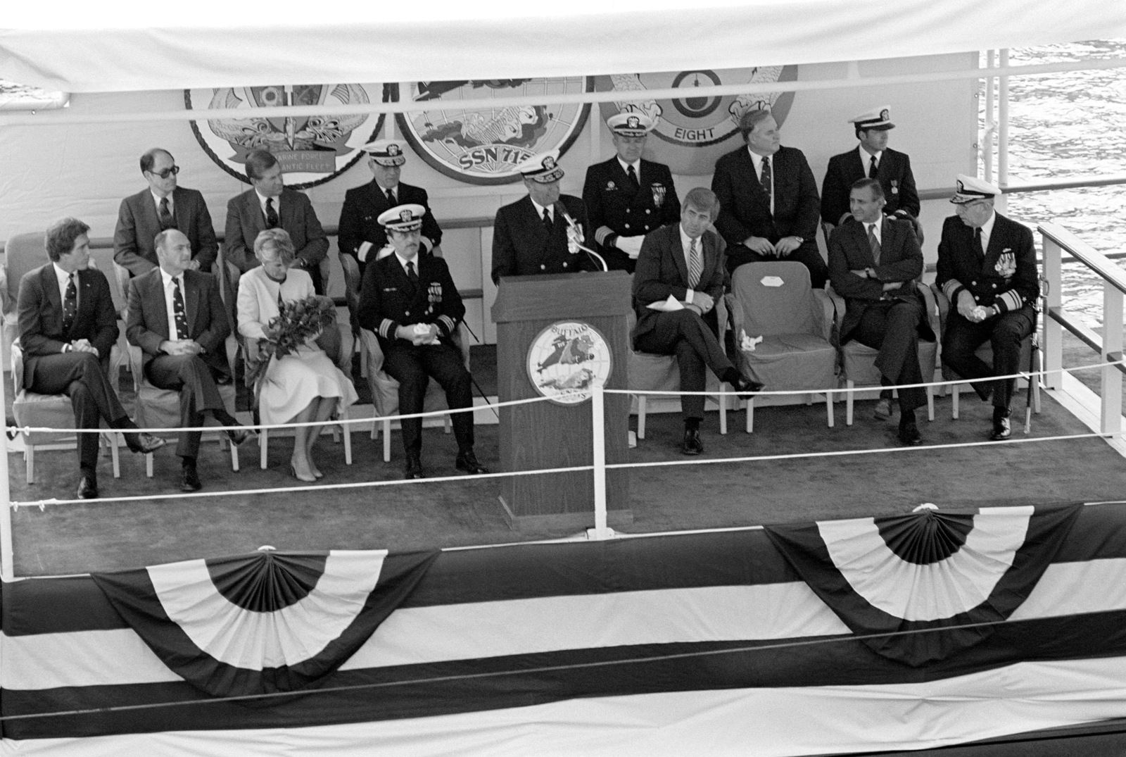 Admiral (ADM) Wesley L. McDonald, commander in chief, Atlantic and Atlantic Fleet, speaks during the commissioning ceremony for the nuclear-powered attack submarine USS BUFFALO (SSN 715)