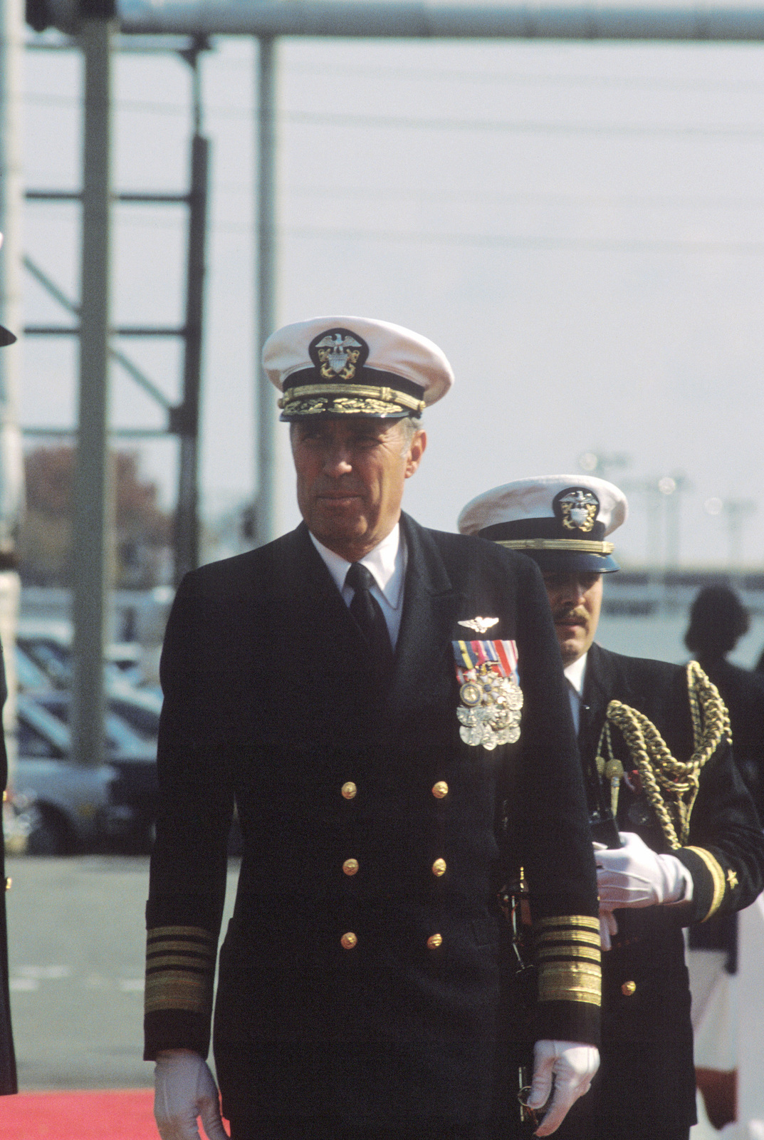 Admiral (ADM) Wesley L. McDonald, commander in chief, Atlantic and Atlantic Fleet, arrives for the commissioning ceremony of the nuclear-powered attack submarine USS BUFFALO (SSN 715)