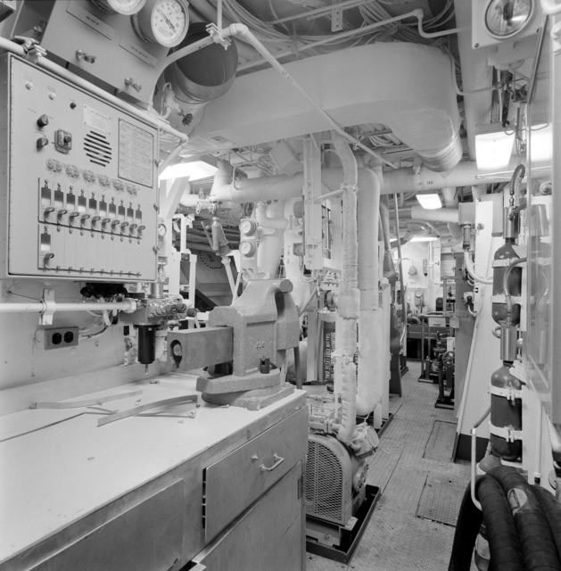 A view of auxiliary machinery room No. 1 aboard the guided missile frigate THACH (FFG 43). The ship, under construction at Todd Pacific Shipyards, is 90 percent complete
