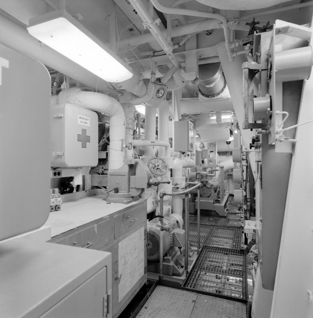 A view of auxiliary machinery room No. 2 aboard the guided missile frigate THACH (FFG 43). The ship, under construction at Todd Pacific Shipyards, is 90 percent complete