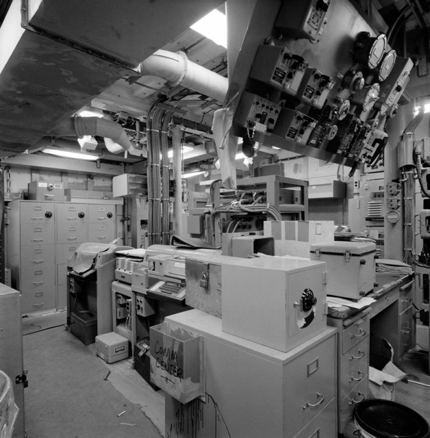 A view of the communication center aboard the guided missile frigate THACH (FFG 43). The ship, under construction at Todd Pacific Shipyards, is 90 percent complete