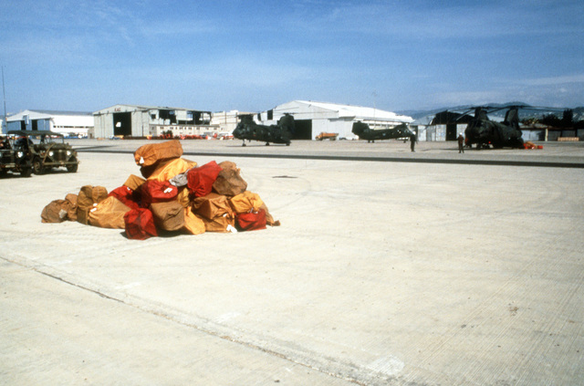 Bags of mail for Marines stationed in Beirut await pick up on the flight line at Landing Zone Brown